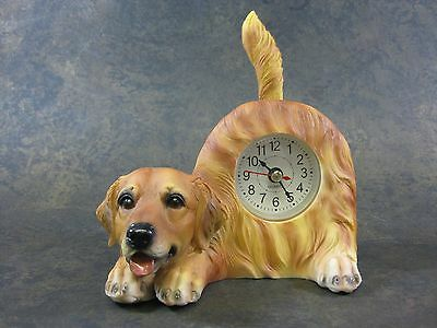Golden Retriever Wagging Tail Dog Clock