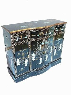 Black with Mother of Pearl Lacquered Sideboard Oriental Furniture Chinese Art
