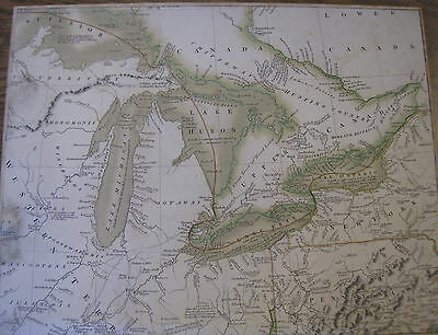 antique map United States of North America...Lakes Superior, Michigan, Huron, On