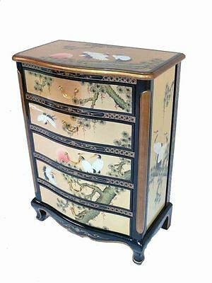 Gold Leaf With Cranes Design Chest of 5 Drawers Chinese Oriental Furniture