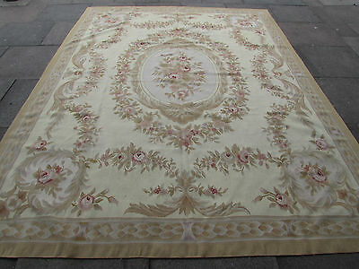 Old Hand Made French Design Original Wool 10x8 Crey Green Aubusson 314X240cm