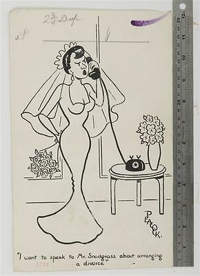 J. PEACOCK ORIGINAL DAILY MAIL 1950s CARTOON newlywed divorce unhappy wife