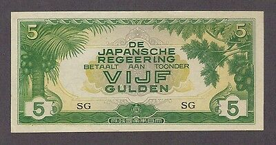 5 Gulden Netherlands Indies Japanese Invasion Money Unc Banknote Bill Jim Ww2 Cu