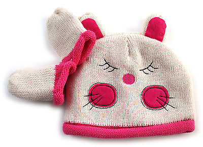 Baby Girls Cosy Little Mouse Pink Knit Hat Mittens Set 12-24 Months / 1-2 Years