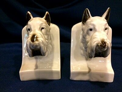 Vintage Porcelain Schnauzer Dog Bookends
