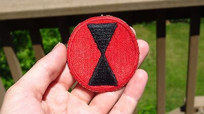 WW2 US Army 7th Infantry Division Red Border SSI Insignia Patch Cut Edge