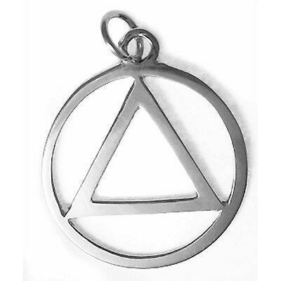 Ster #09-1 Med Size Silver Alcoholics Anonymous Clean Vintage Style Pendant