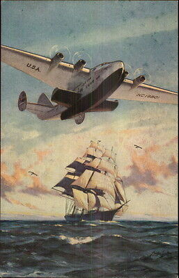 Pan Am American Airlines Clipper Ship Over Sailboat Postcard