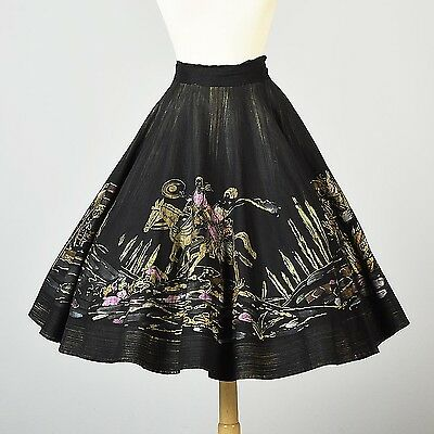 L Vintage 1950s 50s Mexican Hand Painted Full Circle Skirt Horses Pinup Black