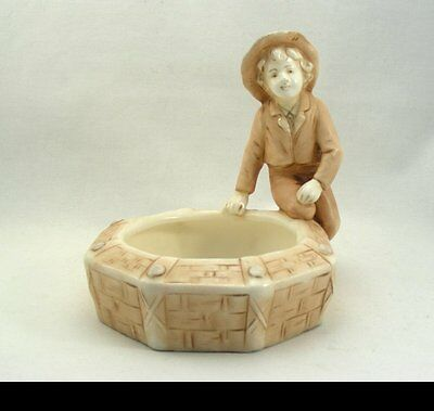 Art Nouveau Ceramic Figure with Bowl probably Vienna