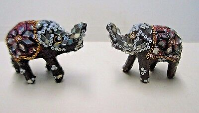 Hand-Crafted Beaded & Painted Decorative India Elephant Figurines Set of 2