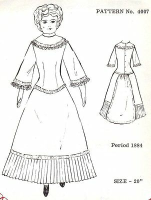 Period DOLL DRESS PATTERN Victorian  German  French ANTIQUE / vintage look #4007