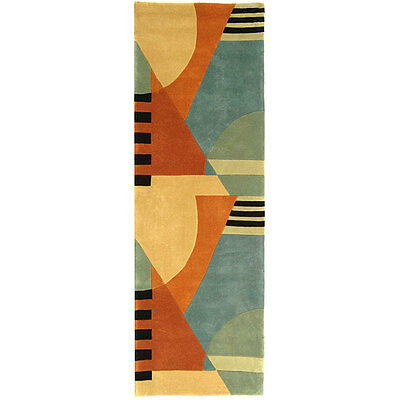 Safavieh Handmade Rodeo Drive Modern Abstract Blue/ Rust Wool Runner Rug (2'6 x