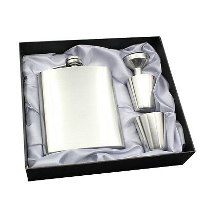 New Hip Flask 7Oz Stainless Steel Pocket Wine Bottle 1 Funnel 2 Cup Set Gift Box