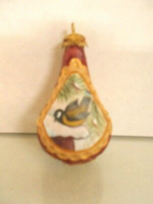 "G. Debrekht- Bird On Rooftop Hanging Ornament- Hand Carved & Painted 2 1/2"" Tall"