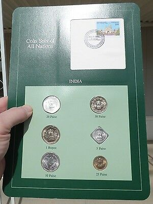 Coin Sets of All Nations, India, Green Card, 6 Coins 1974-86, w/ Card