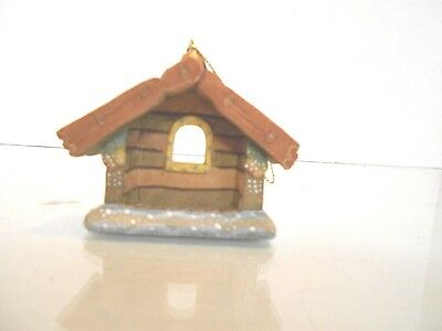 G. Debrekht- Cabin/manger Nativity Hanging Ornament- Hand Carved & Painted 3""
