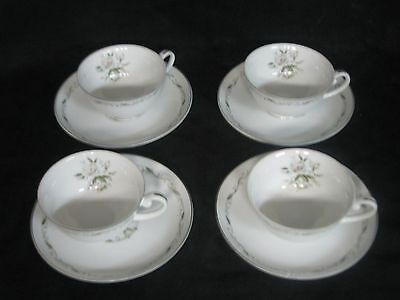 Diamond China Romance Footed Cup & Sauce Roses Scrolls Silver Trim Set of  4
