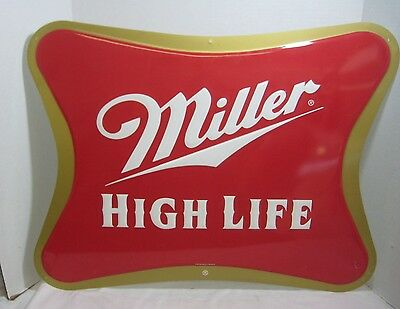 Vintage Miller High Life Embossed Red and Gold Tin Metal Sign