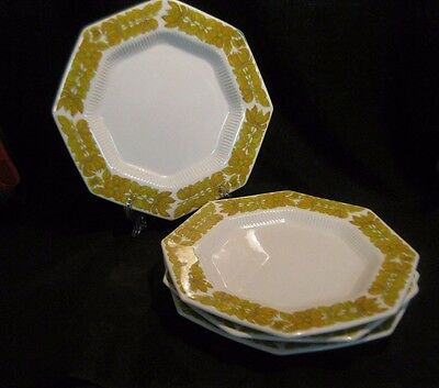 1776 Independence Ironstone Yellow Bouquet Octagon Dinner Plates Set of 4