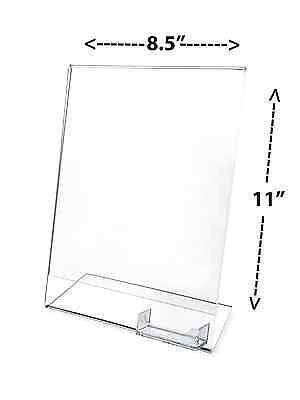 """8.5"""" x 11"""" Acrylic Table Tent Picture Display/Sign & Business Card Holder -Clear"""
