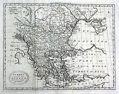 ca. 1790 Turkey Türkei Europe Europa Crimea Karte map Kupferstich engraving