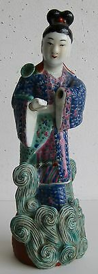 Fine Old Chinese Enamel Painted Porcelain Court Robed Lady Sculpture SIGNED