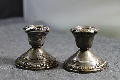 Antique Crown Sterling Silver Pair of Weighted Candlesticks Candle Holder