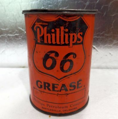 VINTAGE RARE 1930s PHILLIPS 66 1 POUND GREASE CAN