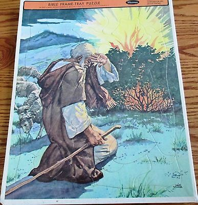 Vtg  Whitman Bible Frame-Tray Puzzle #4520 Moses Burning Bush Copyright 1953 New