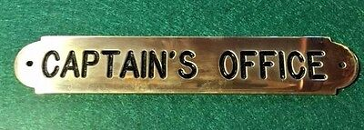 Nautical Brass Captains Office Plaque Sign Solid Brass