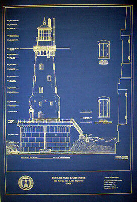 "Vintage Michigan Lighthouse Rock of Ages 1908 Blueprint Drawing 16""x20"" (296)"