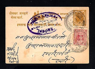 15812-INDIA,OLD POSTCARD INDORE STATE.1937.WWII.British indian postal card.INDE.