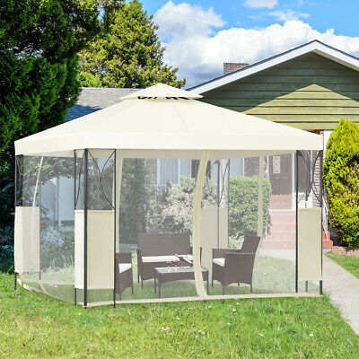 2-Tier 10'x10' Gazebo Canopy Tent Shelter Awning Steel Patio Garden Beige Cover