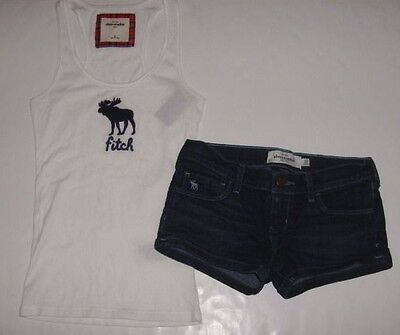 ABERCROMBIE Kids Girls size M 12 FITCH MOOSE TANK TOP JEAN SHORTS OUTFIT NEW E