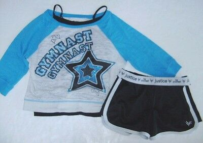 JUSTICE TCP Girls size 12 10/12 CAMI GYMNAST SHIRT SHORTS OUTFIT EUC