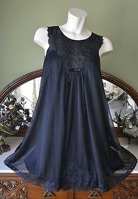 GORGEOUS! Vtg Shadowline Black Dbl Layer Nylon Chiffon & Lace Nightgown! S