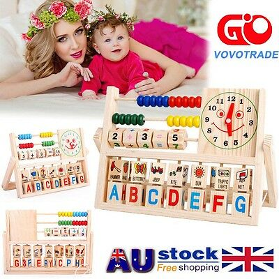 Children Baby Kids Learning Developmental Versatile Flap Abacus Wooden Toys AU