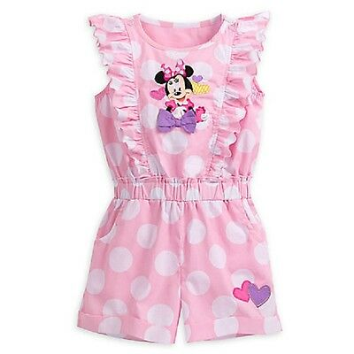 Disney Store Minnie Mouse Vintage-Style Woven Romper Polka Dots Ruffles So Cute
