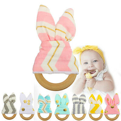 Baby Safety Wooden Natural Teething Ring Newborn Infant Teether Sensory Toy Gift
