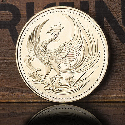 Gold-Plated Japan Golden Phoenix Chrysanthemum Commemorative Coins Collectible
