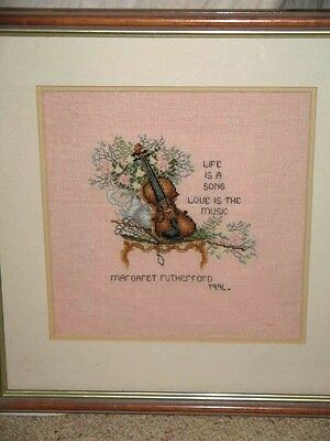 Life is a Song Love is the Music Framed Tapestry Cross Stitch Picture 1994