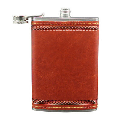 New Hip Flask Stainless Steel Whiskey Flagon Faux Leather Wrap Pocket Bottle 9Oz