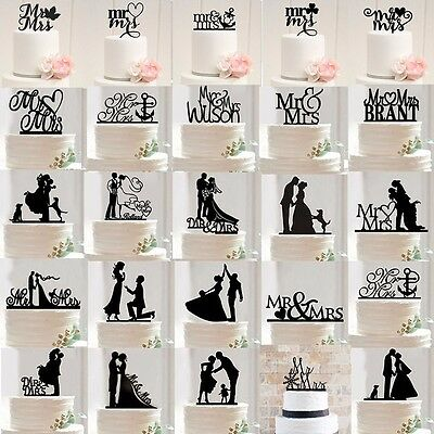 Cake Topper Mr and Mrs Bride Groom Anniversary Wedding Party Favour Decoration