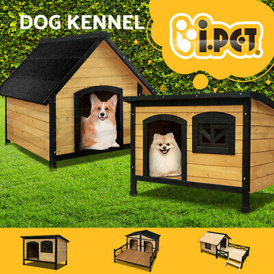 Pet Dog Kennel Wooden Outdoor Indoor Puppy Garden House Accessories Large XL