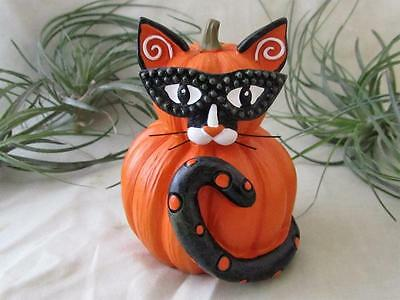 PUMPKIN CAT BLACK WHITE MASK WHISKERS Resin Fun Figurine Sculpture FREE SHIP