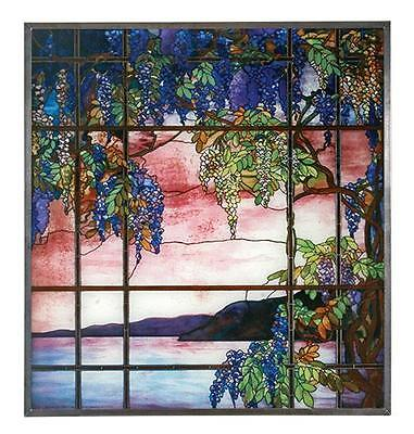 """Tiffany Style """"VIEW OF OYSTER BAY"""" Stained Art Glass Window Panel Wall Hanging"""
