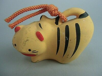 DR155 Japanese Clay Bell Pottery Tiger Chinese Zodiac Hand made Vtg Dorei