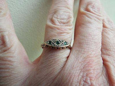 Vintage fine dainty Edwardian style 9ct yellow gold emerald boat ring size O/P