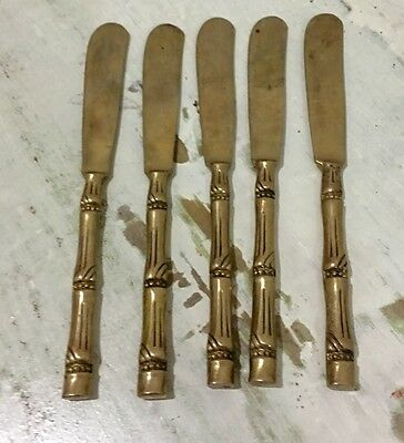 Vintage Brass Thai Bamboo Flat Ware Butter Knives set of 5